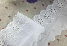 5 Yards/lot 9cm Width Novelty Hollow Out Lace Decoration Pure White 100%Cotton Cloth Embroidery Lace Fabric