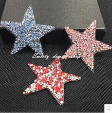 6cm 6pcDIY star Hotfix rhinestone motif iron on transfer Applique patches for shoe clothing Adhesive stick T-shirt Bag trimmings