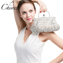 Vintage Evening Beaded Bags White Silver Wedding Bags For Bride Women Messenger Party Handbags Elegant Handmade Clutch Purses(China)