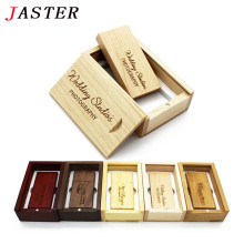 JASTER custom LOGO Brand new Natural Wooden USB flash drive pen drives wood+gift box pendrive 8GB 16GB 32GB wedding gifts