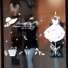 [SHIJUEHEZI] Goddess's Wedding Dress Wall Stickers PVC Material Creative Wall Art DIY for Clothes Shop Window Decoration