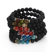 New Design High Quality Black Lava Stone Jewelry Imperial Beads Stretch women & Mens Energy Yoga Gift Bracelets F3232