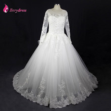 Luxury Berydress Wedding Gown with Royal Train Scoop Neck Casamento Ball Gown Princess Wedding Dress Lace 2017 Long Sleeves(China)