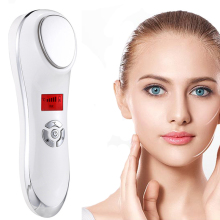 USB Rechargeable Ultrasonic Facial Hot Cold Sound Wave Beauty Vibrating  Massager Skin Tightening Wrinkles Acne Removal Machine