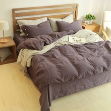 60% Linen 40% cotton bedding set king size/bed linen bedclothes queen deep purple/white/blue/ grey comforter sets/quilt bedding(China)