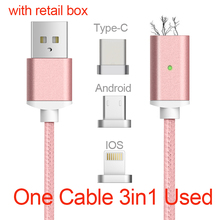 Magnetic Cable 8 Pin Lightning Mirco USB Type C 3in1 Mobile Phone Magnet Cable Fast Charging Magnetic Micro USB Cable Adapter