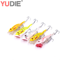 1Pcs Black Spots Noise Popper Fishing Lures 7.5cm 12.6g For Bass Hooks Bait 6 Colors Tackle #8 High Carbon Hook Wobblers Spinner(China)
