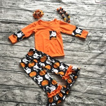 2016 new baby girls outfits halloween baby kids boutique baby girl kid halloween outfits pumpkin sets with matching necklace bow