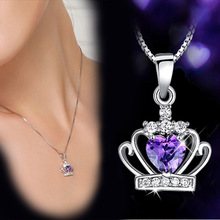 JS 2016 Women Collier Argent Bijoux Femme Purple Crystal Crown Necklace Cute Girl Silver Jewlery SN013(China)