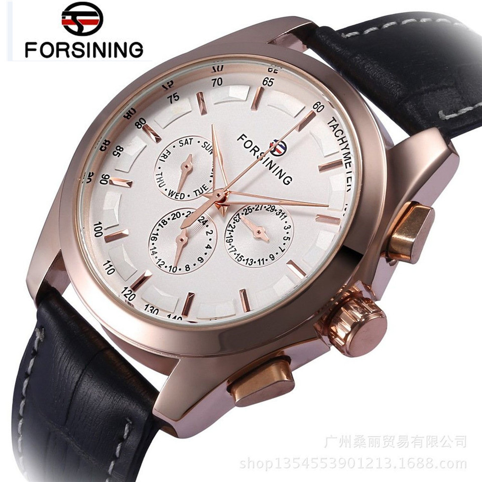 FORSINING New Relogio Masculino Watches Mens DayWeek/24 Hours Automatic Mechanical Watch Wristwatch  Free Ship<br><br>Aliexpress