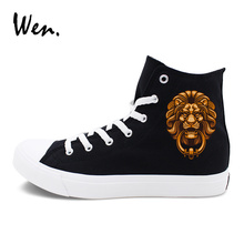 Wen Original Design Canvas Shoes Chinese Element Style Lion Head Door Holder High Top Sports Sneakers Skateboarding Shoes(China)
