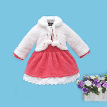 2017 Little Q coral fleece long sleeve baby princess clothes warm winter 2 pieces blouse fashion kid clothing children apparel(China)