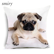 Cute dog Human friends Polyester Cushion Cover Lovely animals Pillow Cover square Pillow case Invisible Zipper Home Decor
