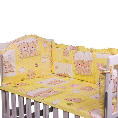 Promotion! 6pcs Cotton Baby Bedding Set Cartoon Crib Bedding Set for Girls,include (bumpers+sheet+pillow cover)<br><br>Aliexpress