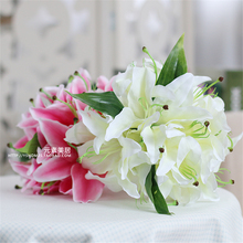 14 Heads Calla Lily Artificial Flower Silk Real Touch Home Decoration Flowers Wedding Bouquet Decorative Flowers