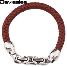 9mm Braided Rope Man Made Leather Bracelet Brown Black Leather w Stainless Steel Byzantine Link Bracelet about 8.66inch LLBM27(China)