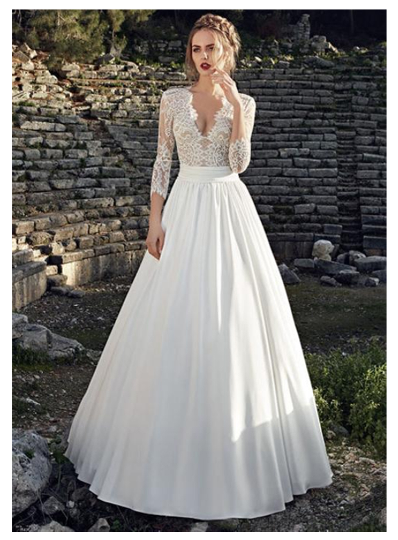 LORIE Chiffon Boho Wedding Dress 2019 3/4 Long Sleeves Lace Top Beach Wedding Gown Buttons Back Bride Dresses