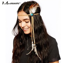 Meetcute 2017 Fashion Boho Style Feather Headbands Personality Indian Natural Stone Beads Hair Jewelry Hair Pins for Women Girls