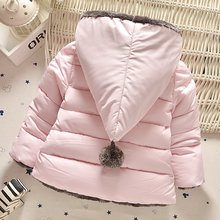 VORO BEVE 2017 Winter Baby Girls Coat Cotton Bow Hooded Kids Infant Parkas Princess Style Outerwear Coat casaco roupas