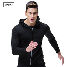 Fitness Solid Color Men Sport Black Hooded Jacket Gym Long Sleeve Zipper Training Jacket Male Quick Dry Running Jacket Coats 3XL(China)