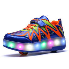 New 2017 Children Shoes Fashion Sports Skates Boy & Girls Sports Shoes Invisible Button Casual Shoe Kids LED Light Sneakers(China)