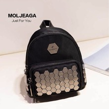 MOLJEAGA the new import waterproof nylon & Cowhide Rivet Mosaic black backpack fashion brand bags female female fashion bags(China)