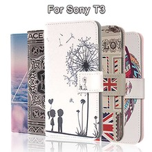 Fashion Painting Cross Lines Flip Wallet Case for Sony Xperia T3 Cover Sony T3 Case Phone Coque Fundas Custodia PU Leather