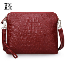 Vintage Women Messenger Bags Lux Split Leather Cowhide Envelope Clutch Sexy Crocodile Pattern Handbags CrossBody Shoulder Bolsos(China)