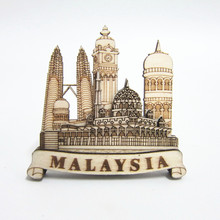 Home Decor Magnets Malaysia 3D Resin Fridge Magnet Kuala Lumpur Petronas City Tourism Souvenir refrigerator Magnetic Stickers