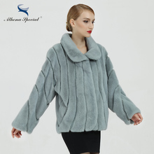 Athena Special Brand Light Blue Color Short Casual Type Women Real Mink Fur Coat With Turn Down Collar Winter Warming Fur Coats