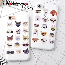 LOVECOM For Iphone 6 6S Plus 7 7 Plus Back Cover Cool Glasse Cartoon Animals Cat With Dog Soft TPU Anti Shock Mobile Phone Cases