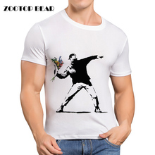 famous Printed Banksy T shirt Men Casual Shirt Short Sleeve Summer Brand Clothing White Skateboard Camisa Male 2016 ZOOTOP BEAR