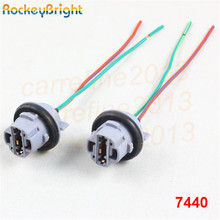 Rockeybright T20 7440 Car Lamp Cable 7440 Bulb W21/5W LED Bulb Socket 7440 Turn Light LED T20 lamp holder plug connector cable(China)