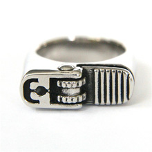 2017 Cool Style Biker New Arrival Silver Polishing Ring Hot Stainless Steel Mens Ring Cigarette Lighter Fashion Cool Ring(China)