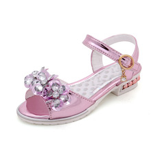 Girl Sandals Kids Summer Shoes Children Fashion Diamond Girl Princess Shoes Flower Child Girl Party Sandals Glowing Shoes