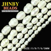 JHNBY Rice grains pearls beads High quality Natural White Pearls Stone oval Loose beads 5/6/7/9/11MM Jewelry bracelet making DIY