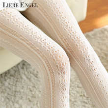 LIEBE ENGEL Fashion Winter Women Socks Body Stovepipe Shaping Lace Vertical Strips Pantyhose For Women Warm Attractive Nylon(China)