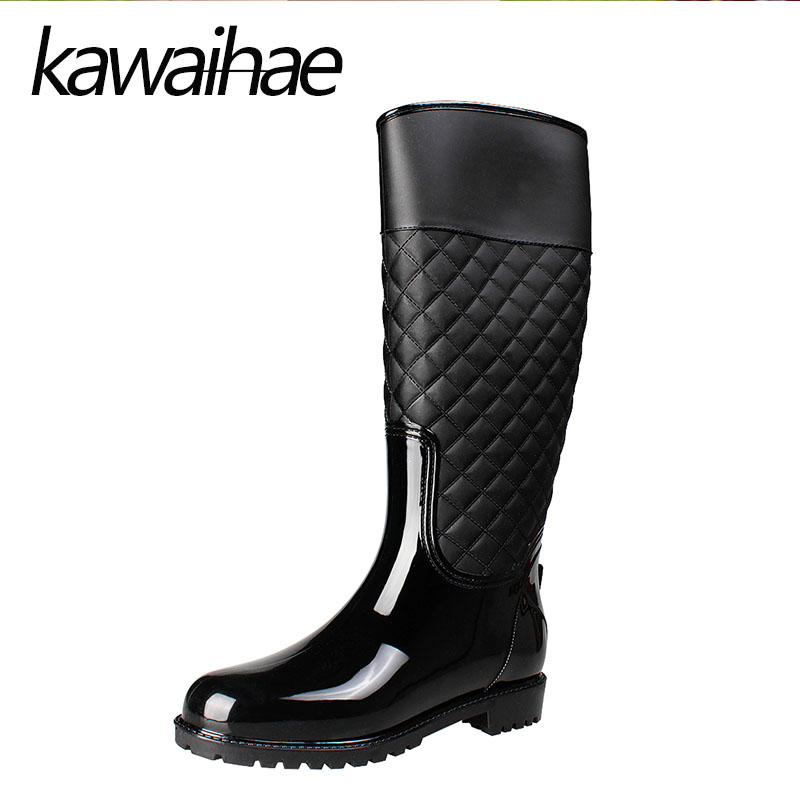 Round Toe Knee High Women Boots Rain Shoes Female Waterproof Rainboots Rubber Shoes Kawaihae Brand Martins 909G<br>
