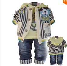 (Cz1032)2016 Big Promothion New Arrival Boys Shirt Cowboy Coat Pants Sets For Kids 3 Piece Hot Sale Children Sets Clothing(China)