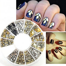 50% OFF***400Pcs/BoxNail Studs Gems Metal Nail Art 3D Decorations Nailart Designs Silver Gold Black Metal Studs Manicure 12shape