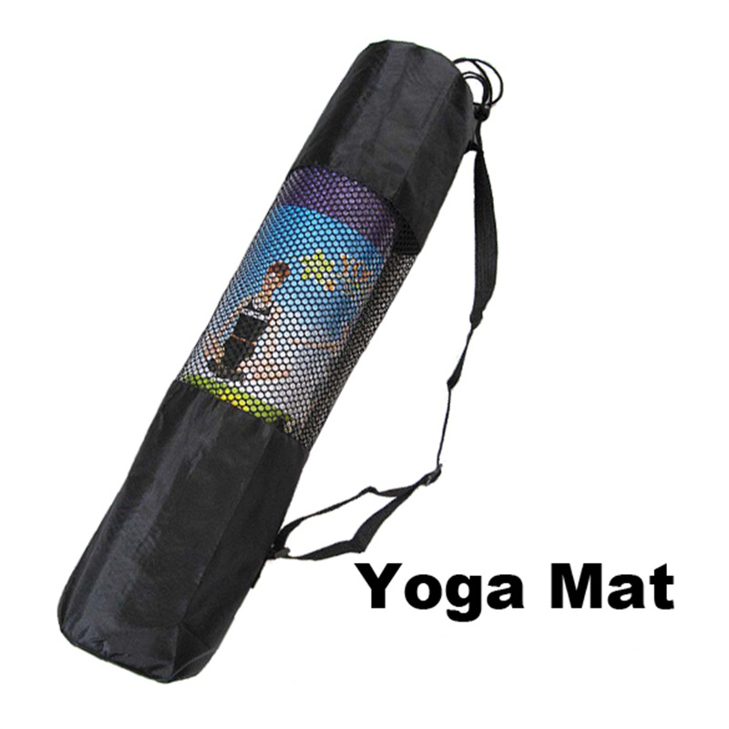 New Fashion Gym Yoga Mat Bag Portable Nylon Carrier Washable Adjustable Strap Carry 60*17cm*6mm Black Shaping Tool Ropa, Calzado Y Complementos