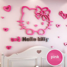 50*30cm DIY 3D Hello Kitty Cat Wall Stickers for Kids Rooms Bedrooms Acrylic Lovely Decals Poster Home Decor