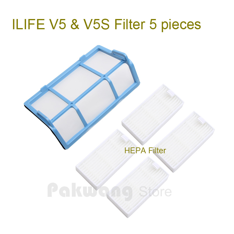 Original ILIFE V5 V5S  Robot vacuum cleaner Primary Filter 1 pc and HEPA Filter 1 pc<br>