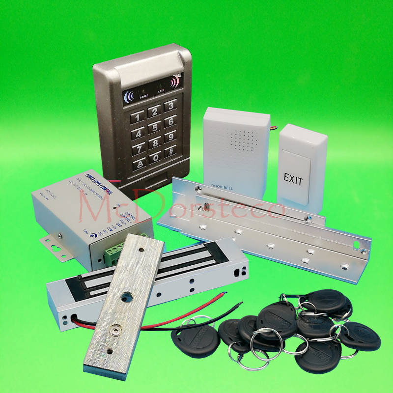 DIY Complete 125khz Rfid Keypad Door Access control system 350lbs 180kg Electric Magentic Lock Door Control System +ZL Bracket<br>