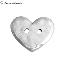 "DoreenBeads Zinc Based Alloy Metal Buttons Heart Antique Silver 2 Holes 19mm( 6/8"") x 16mm( 5/8""), 5 PCs(China)"
