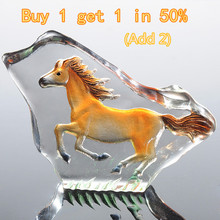 H&D 2.8inch Clear Crystal Horse Figurines Paperweight Crafts Collection Table Car Ornaments Souvenir Home Wedding Decoration(China)