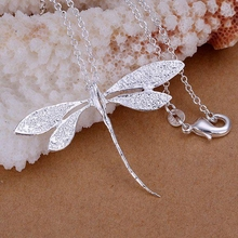 wholesale silver plated pendant,925 fashion Silver jewelry dragonfly pendants necklace for women/men +chain SP076(China)