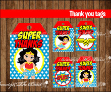 Wonder Women Thank you Tags,Labels,Gift Favors,Birthday party decorations kids,Party supplies Candy bag label Baby Shower