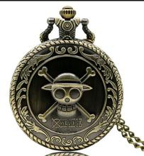 FANTASY UNIVERSE Freeshipping wholesale 20pc a lot One piece Luffy straw hat pocket watch necklace Dia47mm 20pcs/lot PM52(China)