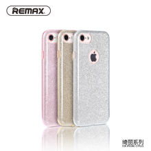 Remax Glitter Mobile Phone Cases for iPhone 7 4.7 inch Shiny Bling Case Cover Phone Protective Bag PC TPU Case Original Package(China)